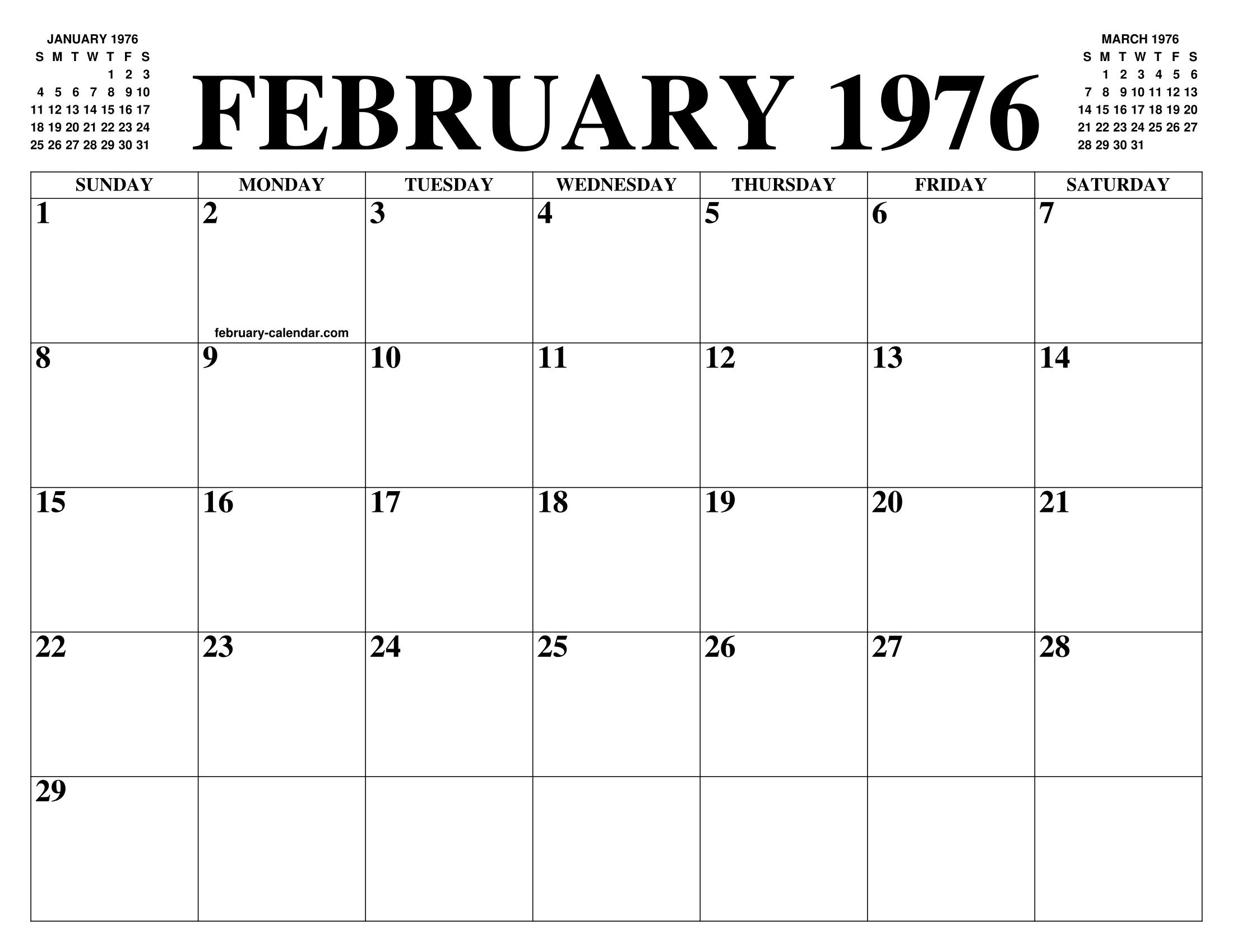 Calendario 1976.February 1976 Calendar Of The Month Free Printable February