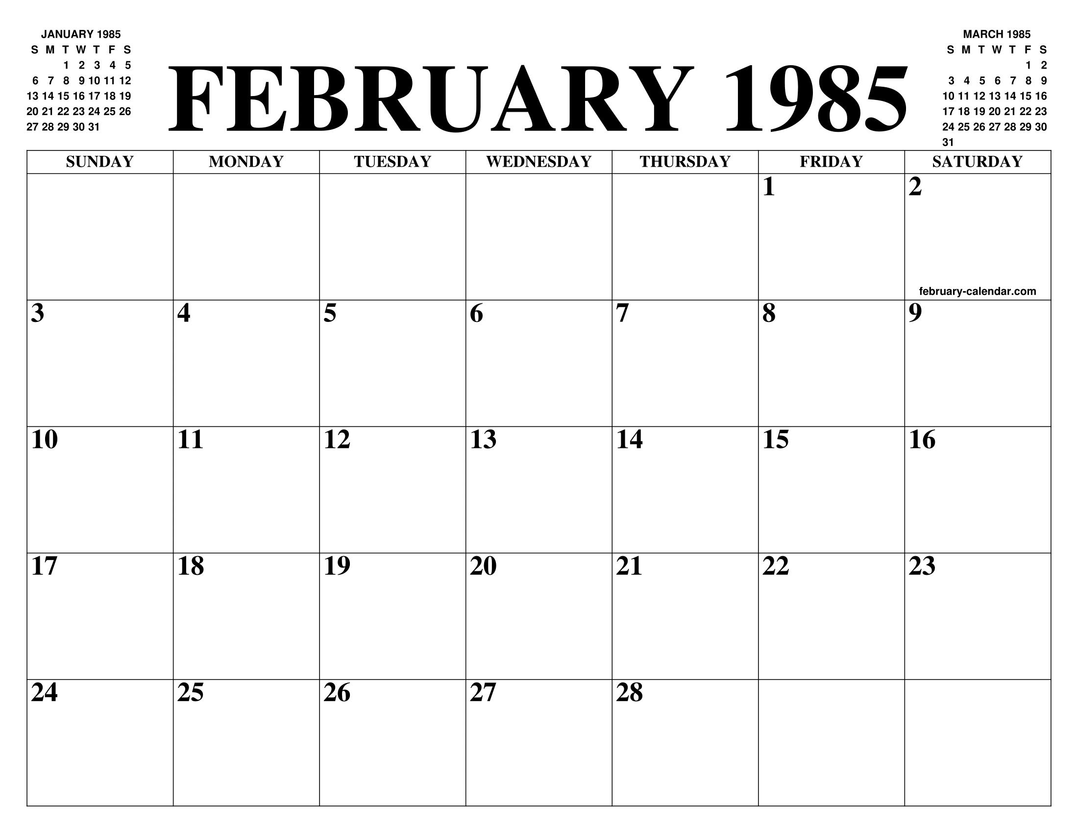 1985 Calendar.February 1985 Calendar Of The Month Free Printable February