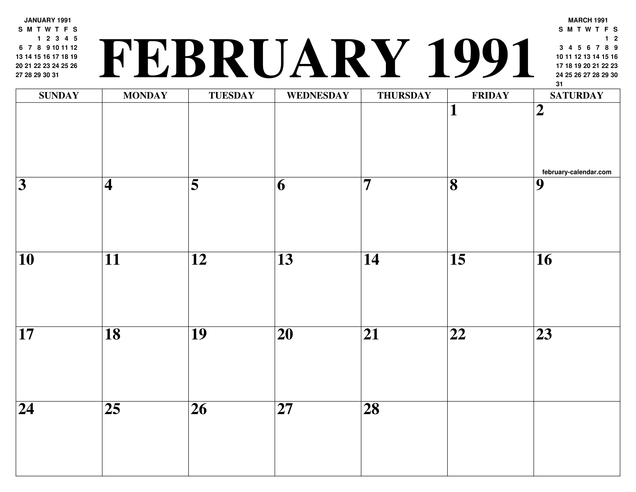 February 1991 Calendar Of The Month Free Printable February