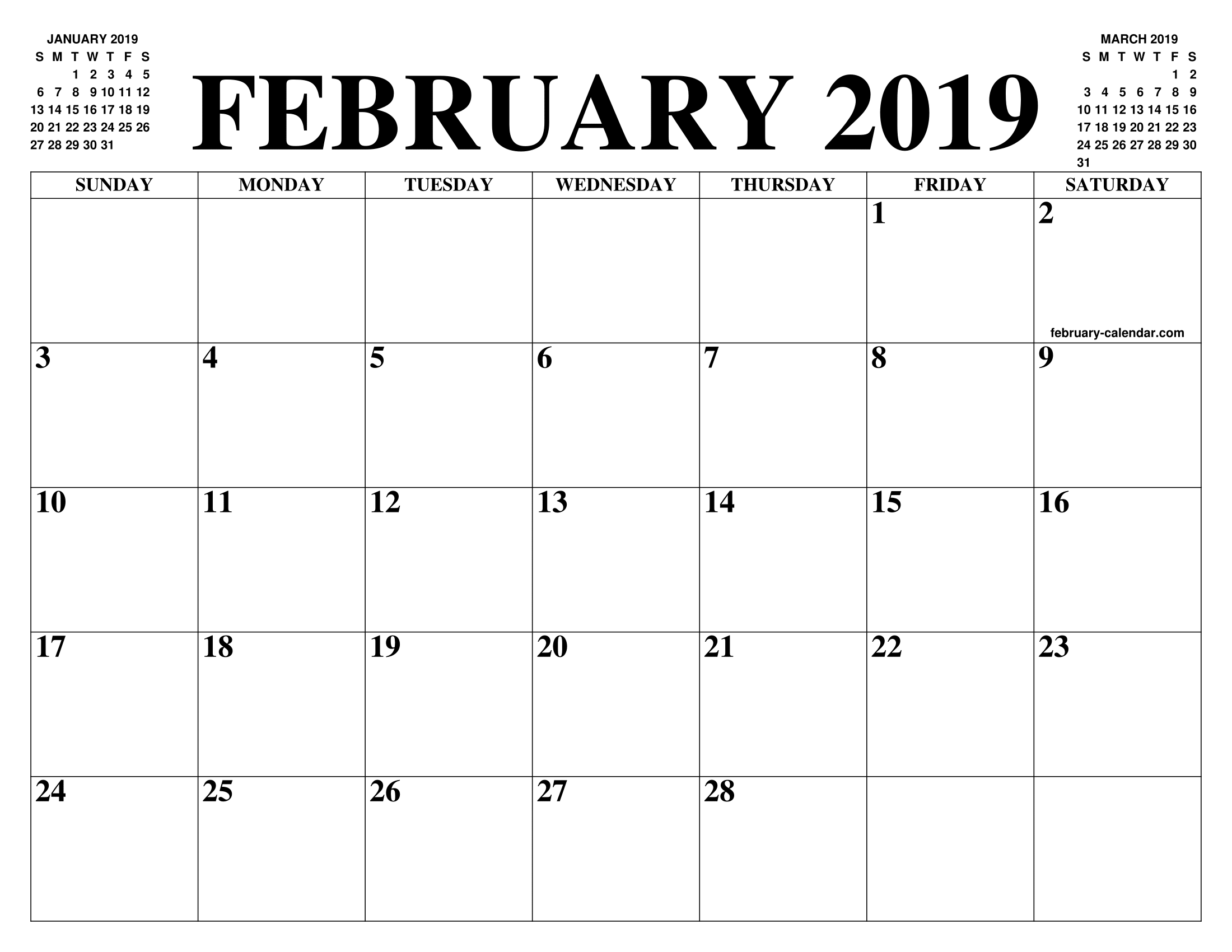 February Calendar 2019.February 2019 2020 Calendar Of The Month Free Printable February