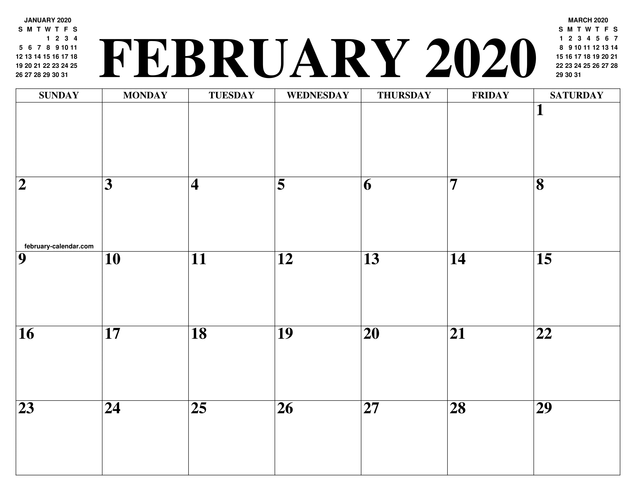 Calendar 2020 February And March.February 2020 Calendar Of The Month Free Printable February