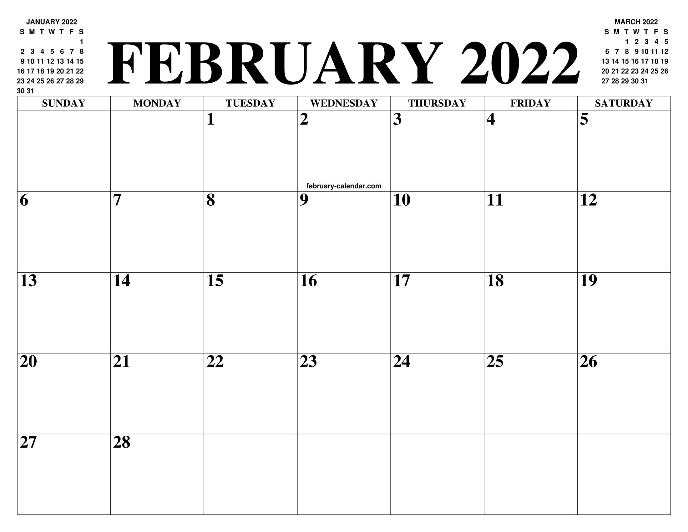 Calendar 2022 Feb.February 2022 Calendar Of The Month Free Printable February Calendar Of The Year Agenda